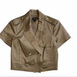 BEBE dark khaki cropped short sleeve cotton jacket